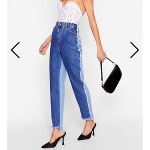 NASTYGAL Raw Hem Two Toned Jeans